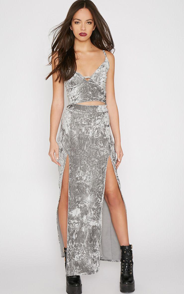 Ursa Grey Velvet Double Slit Maxi Skirt 1