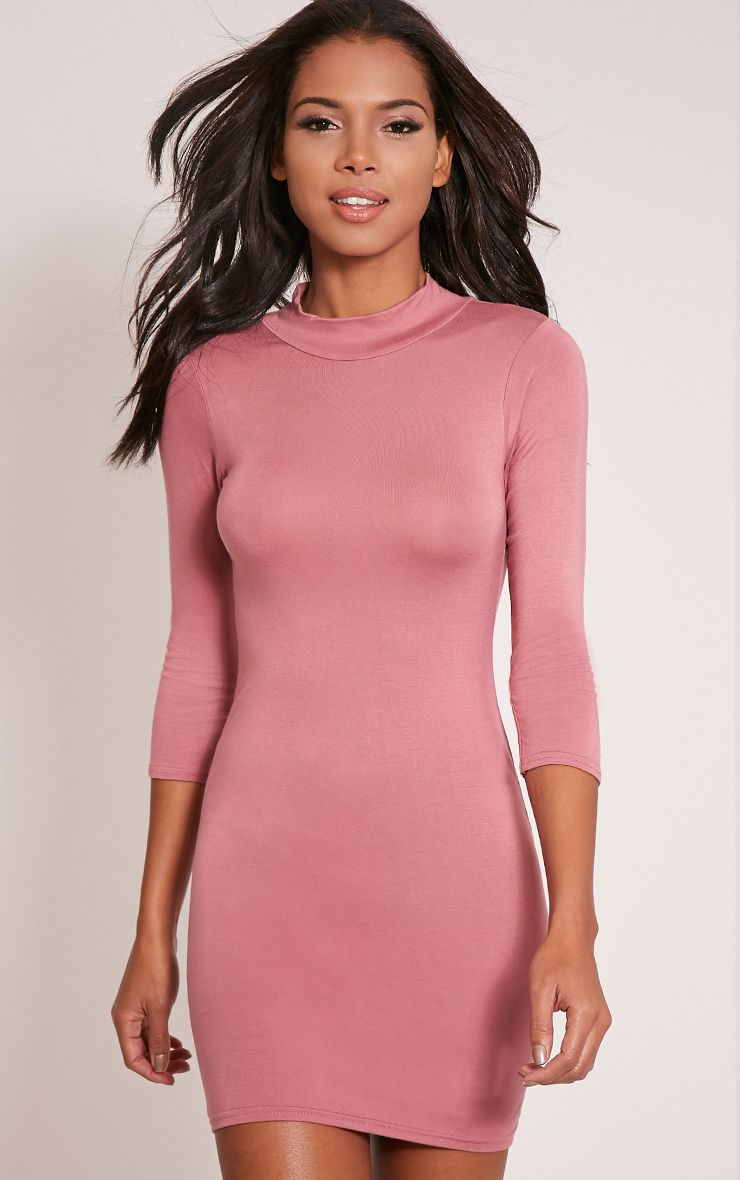 Basic Rose High Neck Jersey Mini Dress 1