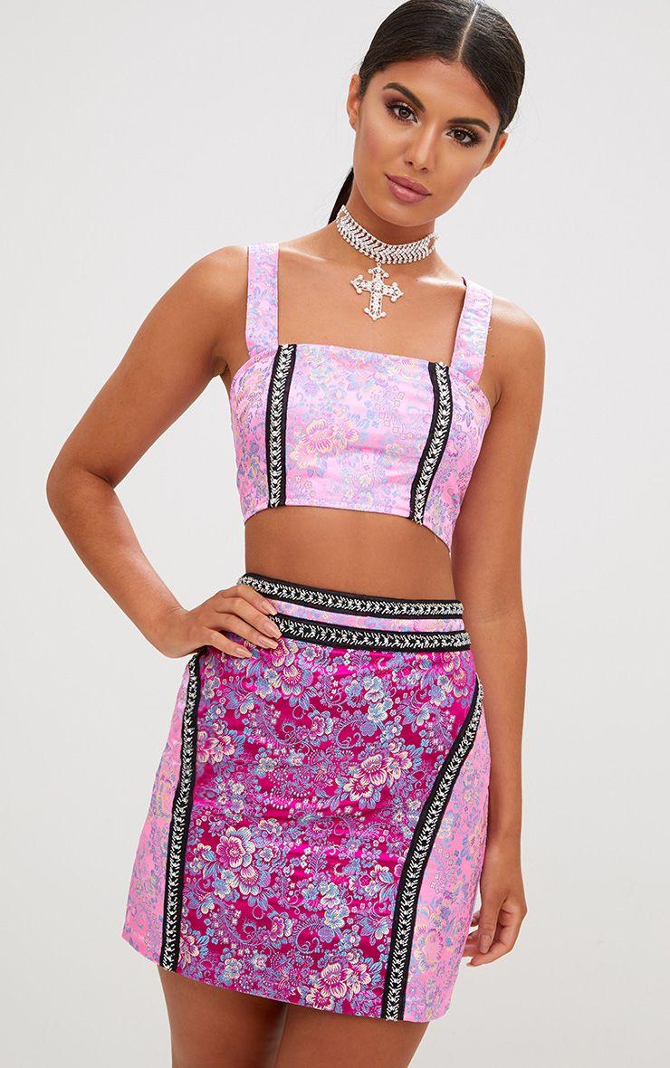 Premium Pink Jacquard Crop Top