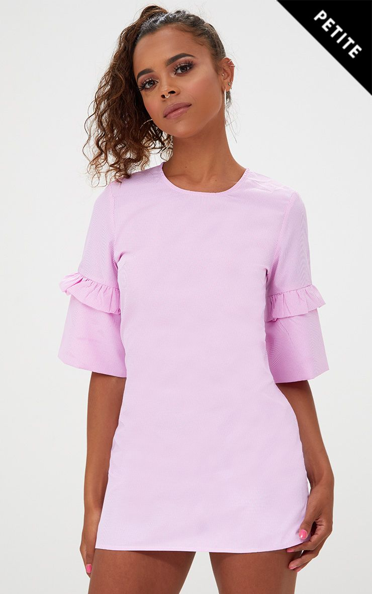 Petite Pink Frill Sleeve Shift Dress