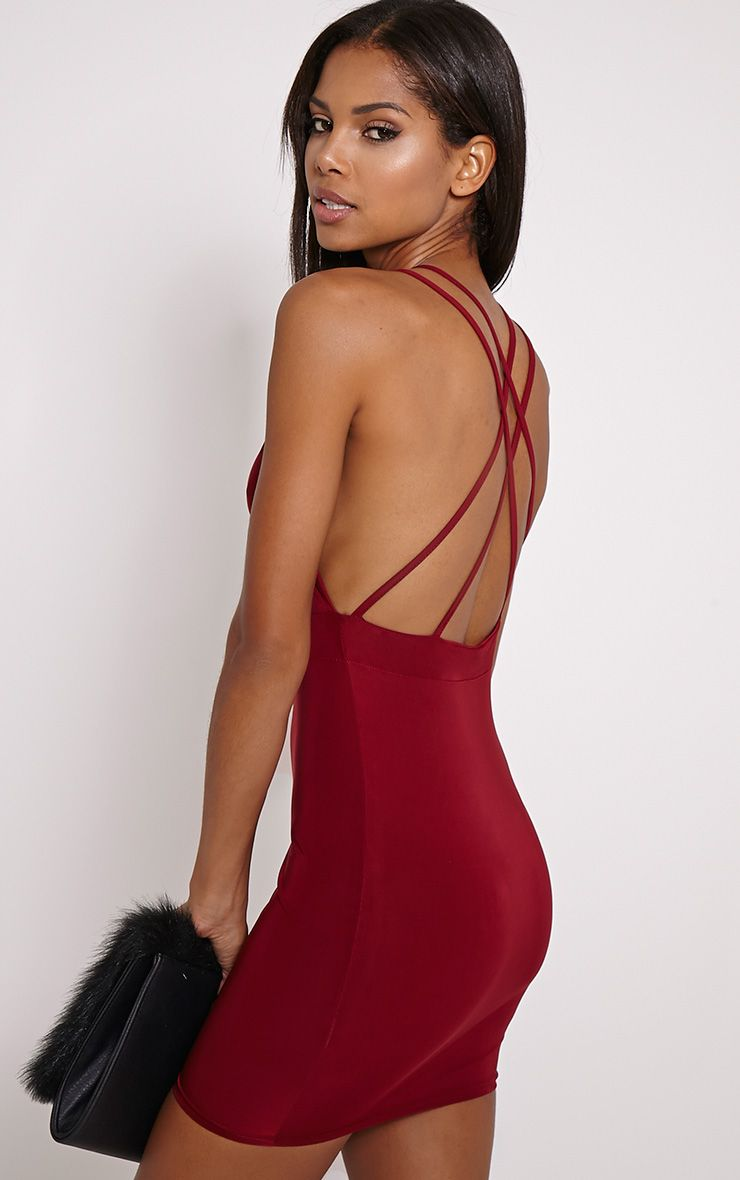 Millia Burgundy Back Detail Mini Dress