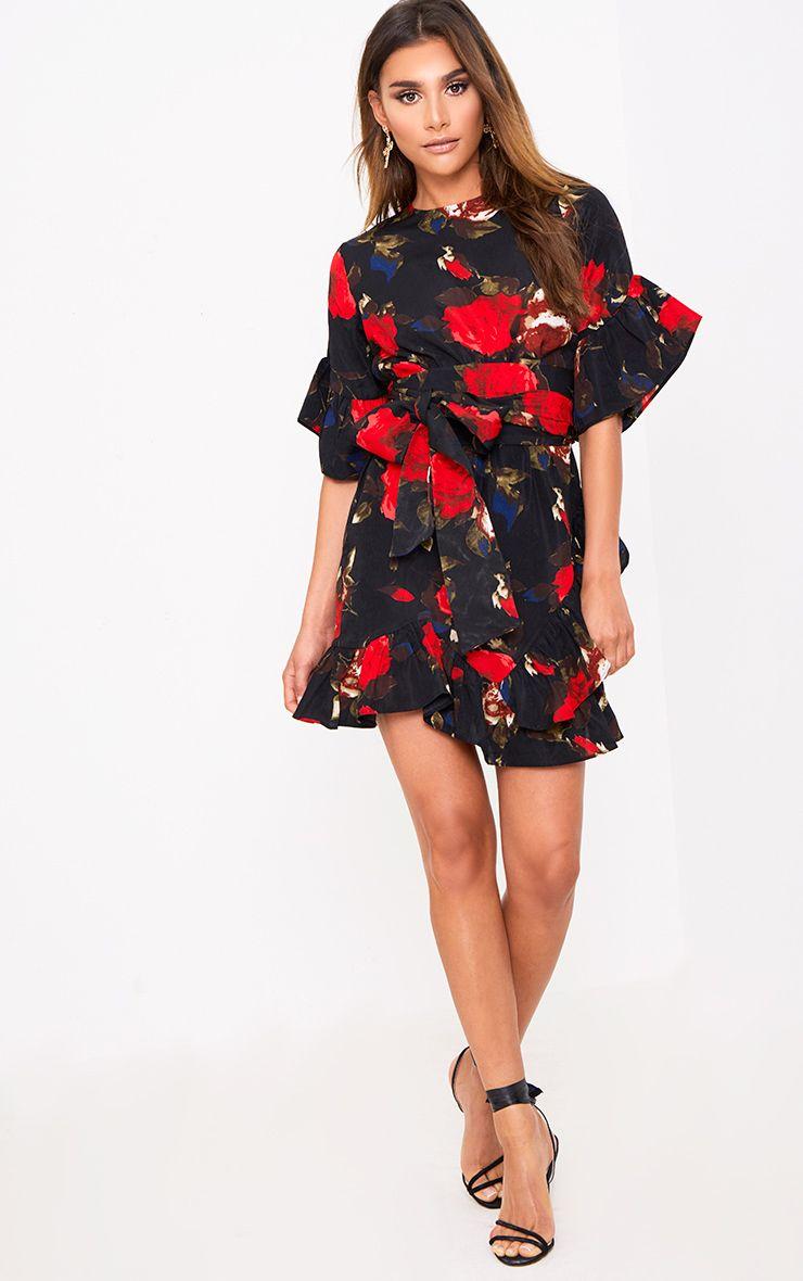 Aaliyah robe mini florale noire à détail volants  1