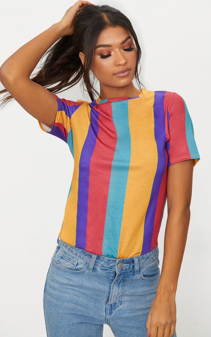 Multi Striped T Shirt