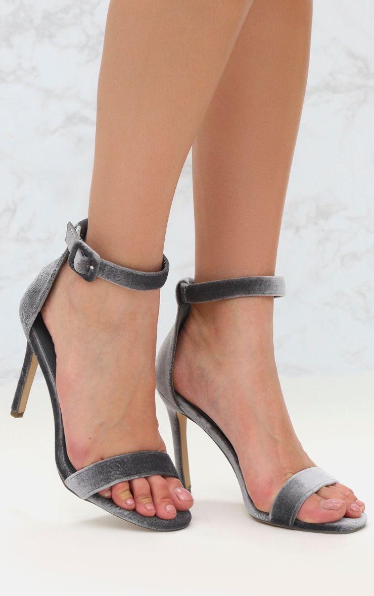 Grey Velvet Sandal