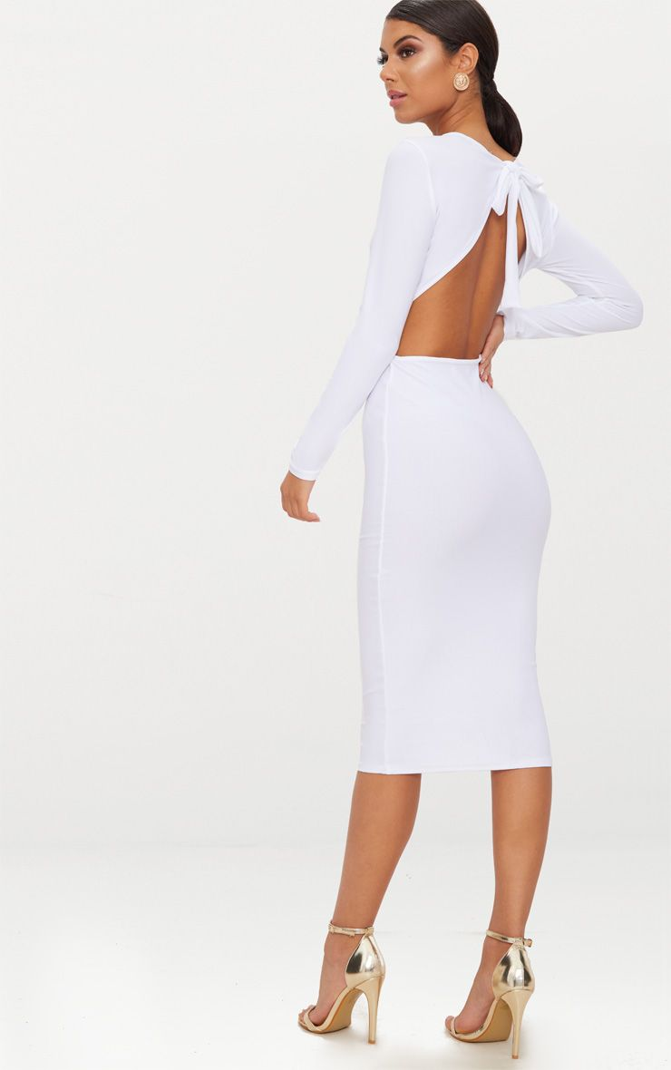 WHITE BACKLESS BOW DETAIL MIDI DRESS