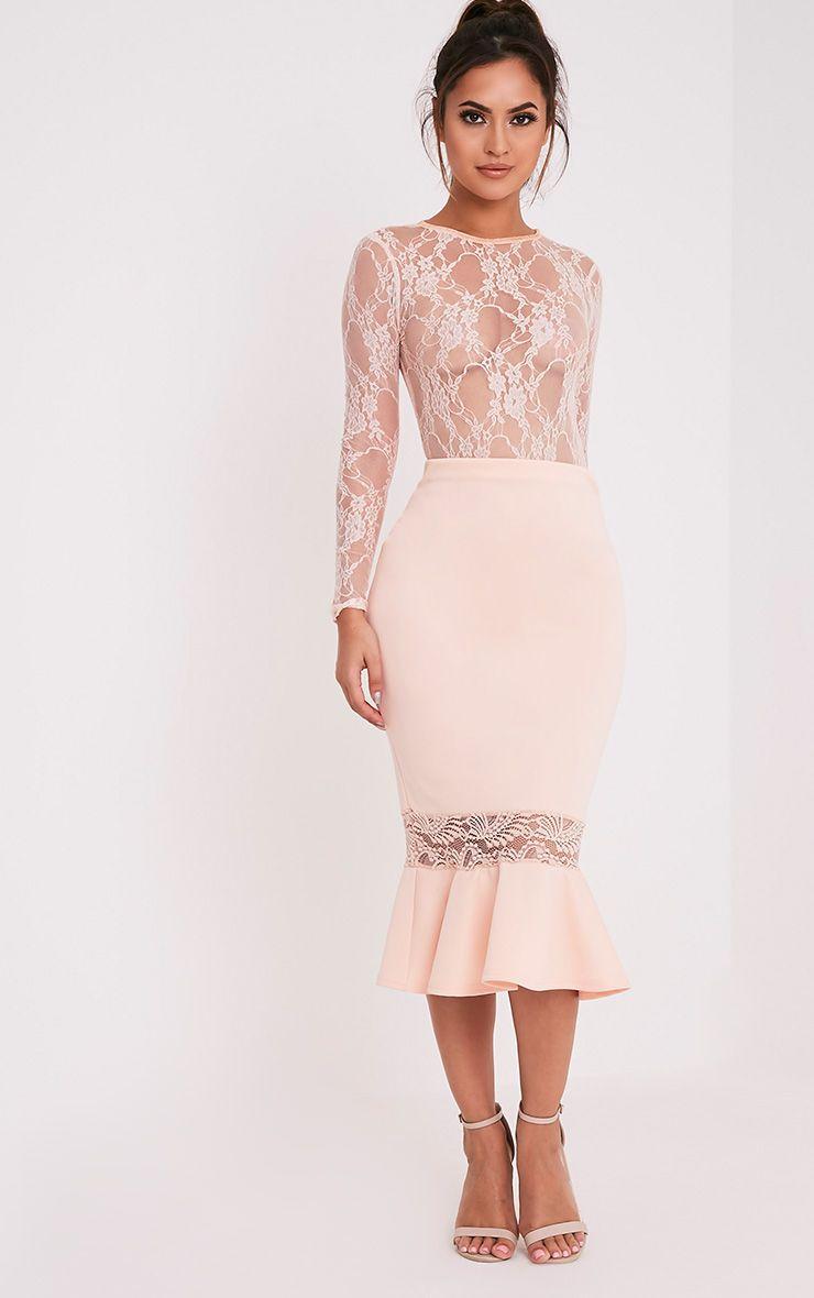 Zeline Nude Lace Insert Fishtail Midi Skirt
