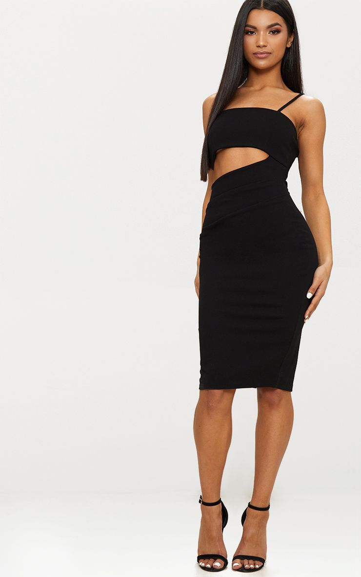 Black Square Neck Cut Out Midi Dress Pretty Little Thing YiSRZJEX70