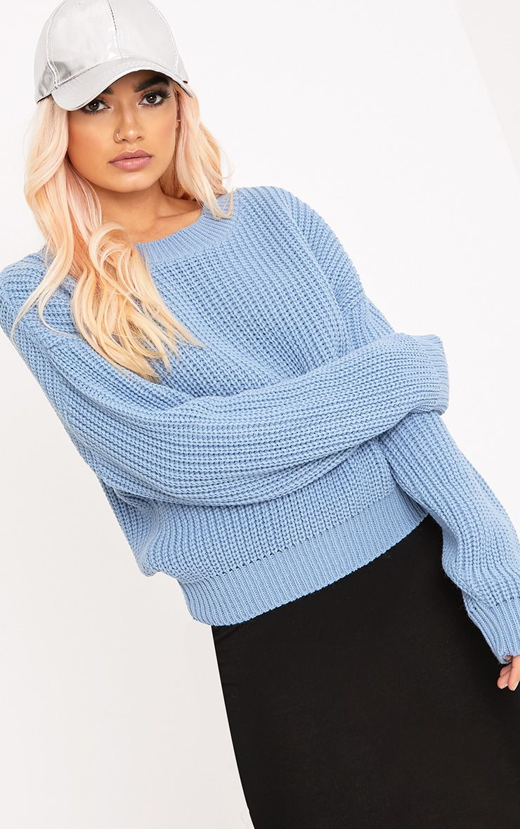 Cara Dusty Blue Cropped Knit Jumper