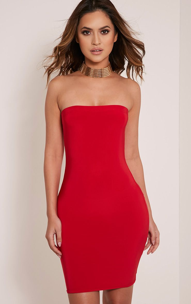 Drita Red Bandeau Slinky Bodycon Dress