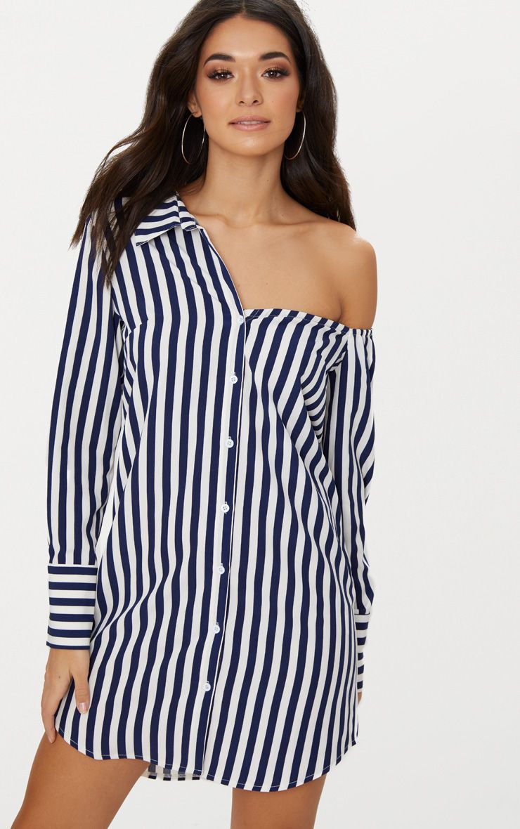 Navy Striped Off the Shoulder Shirt Dress