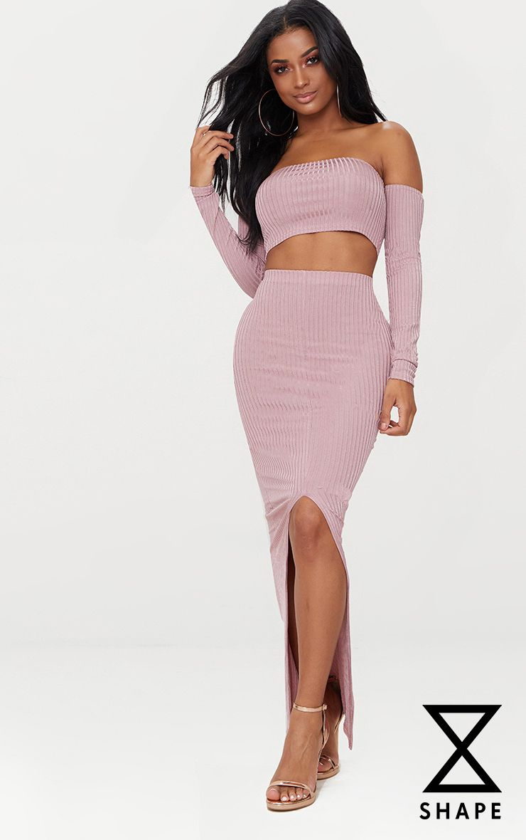 Shape Rose Ribbed Midaxi Skirt
