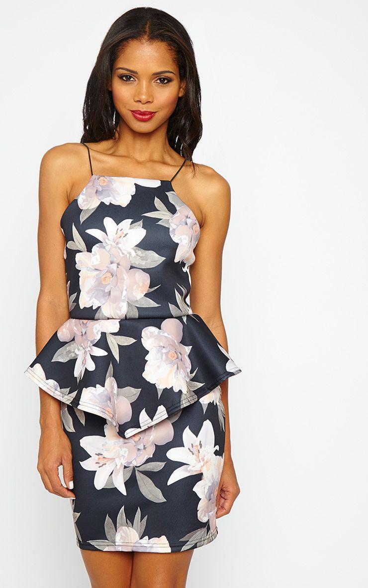 Miri Floral Pleated Peplum Dress 1