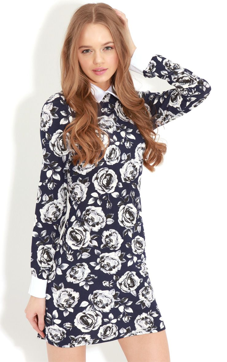 Demi Navy Floral Collar Dress 1