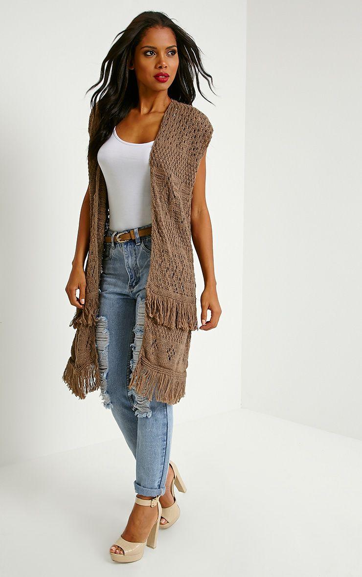 Isa Mocha Fringe Knitted Cardigan 1