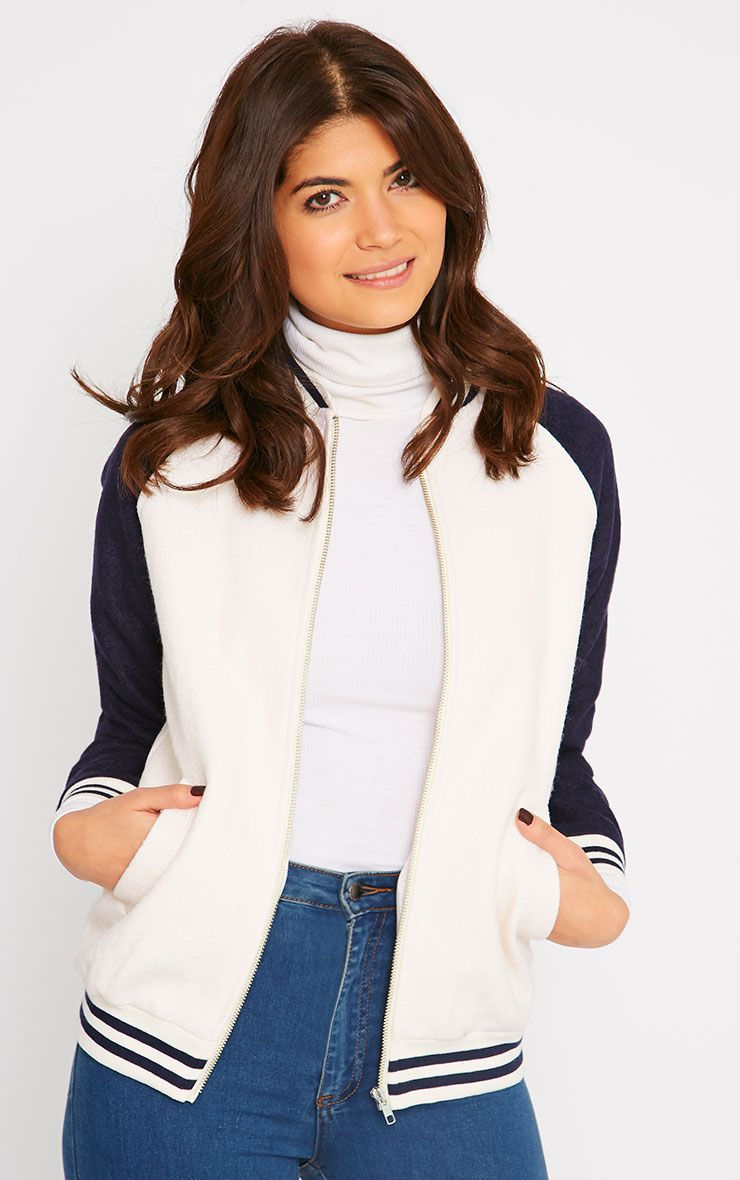 Quiana Cream Baseball Jacket  1