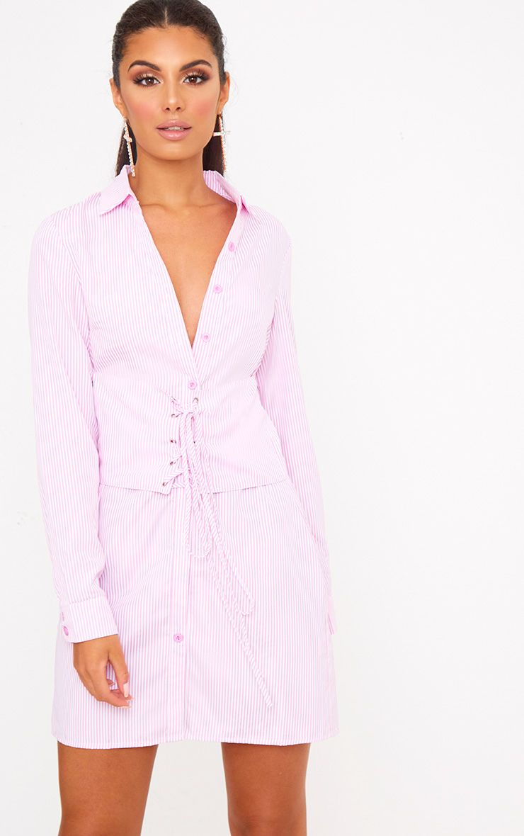 Pink Corset Lace Up Open Shirt Dress