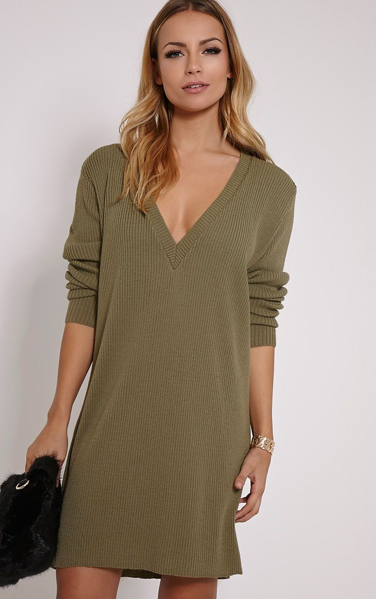 Nashton Khaki V Neck Ribbed Jumper Dress 1