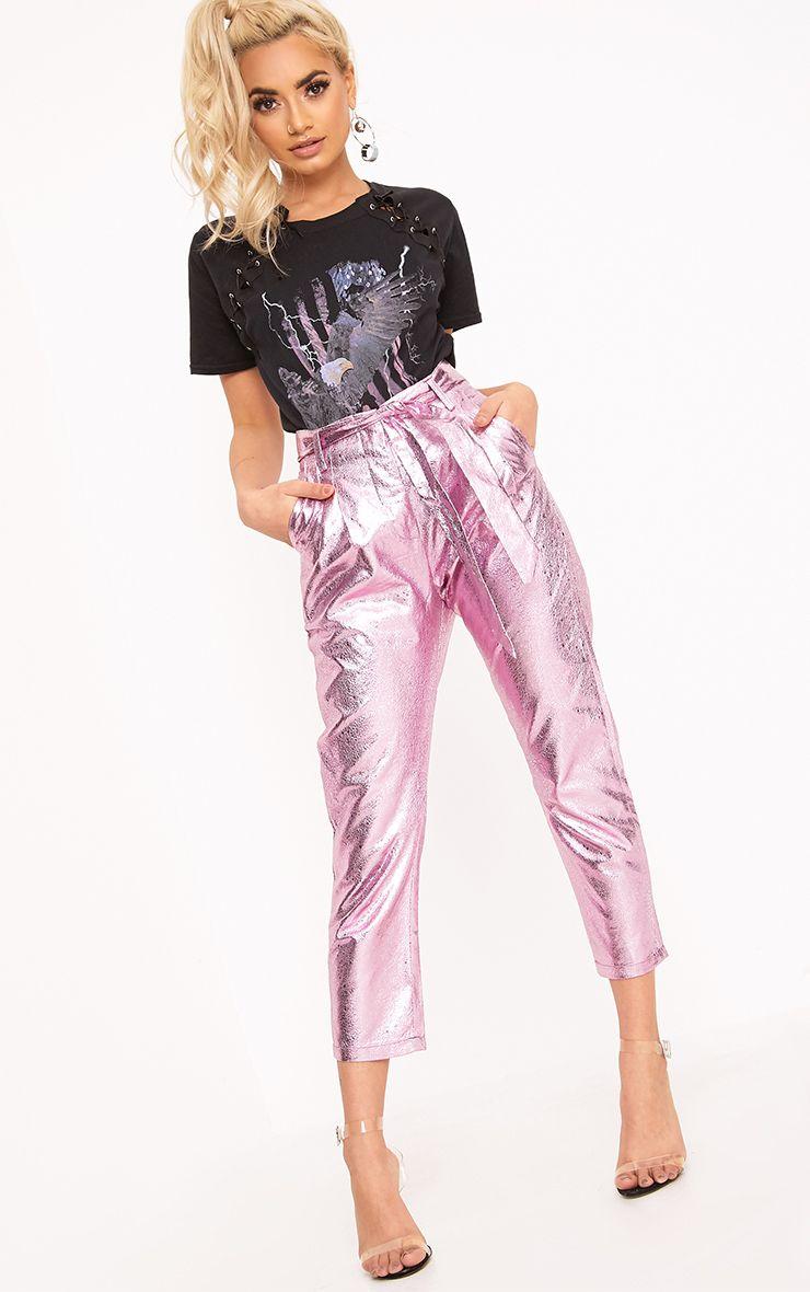 Leanne Pink Tie Waist Crack Vinyl Crop Trousers