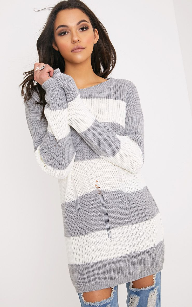 Juley Grey Striped Distress Oversized Jumper