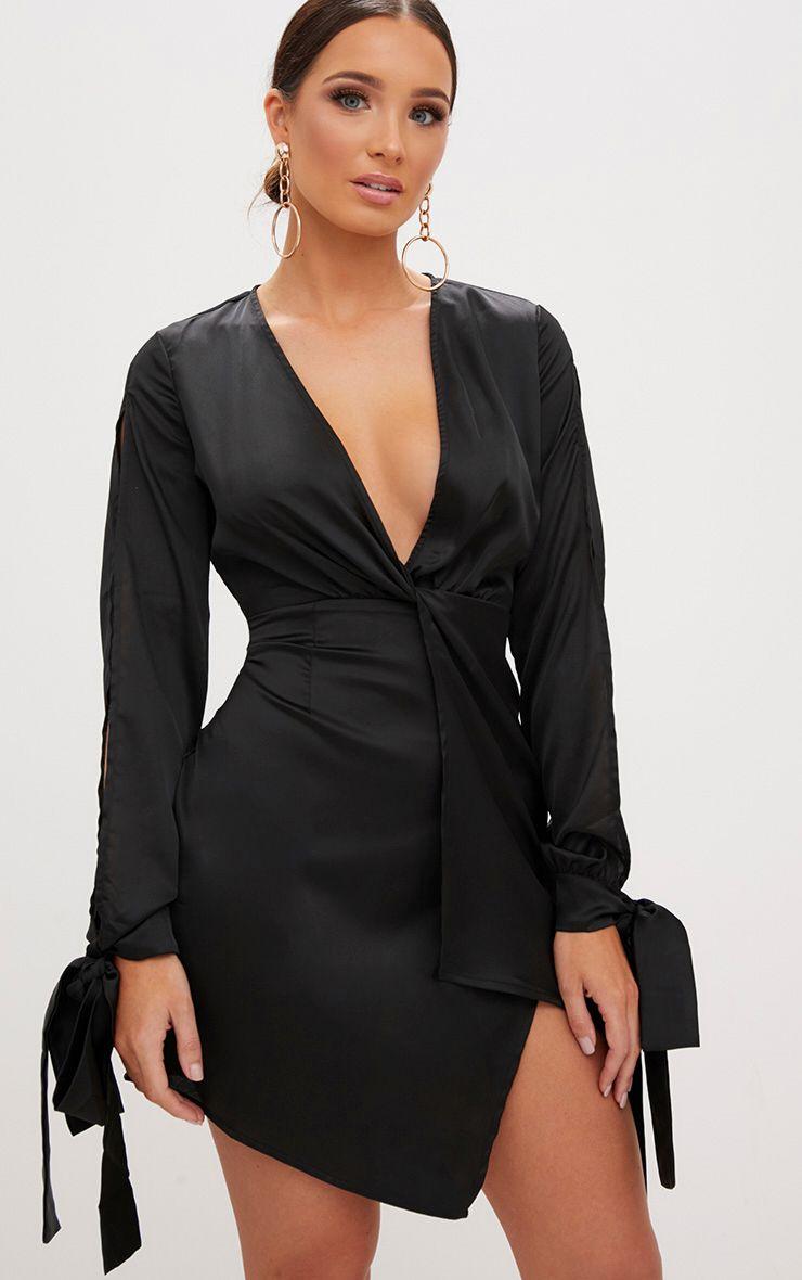 Black Open Arm Knot Front Tie Sleeve Shift Dress  1