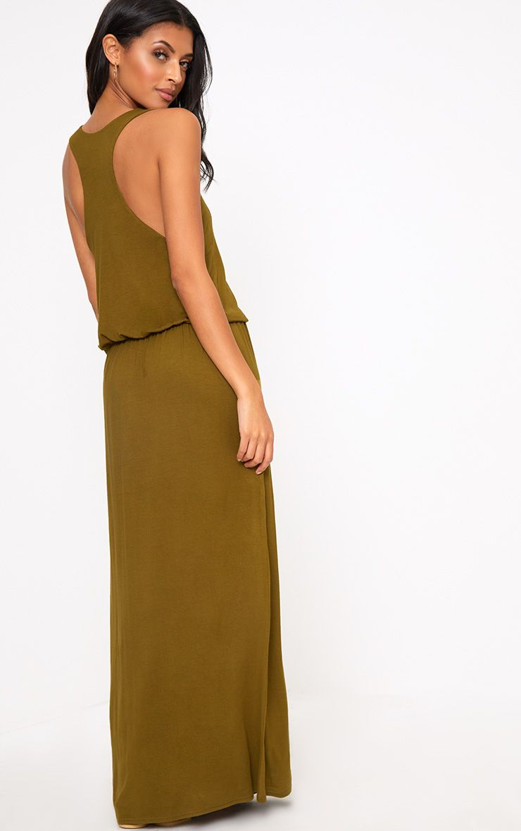 Dark Olive Bagged Over Maxi Dress