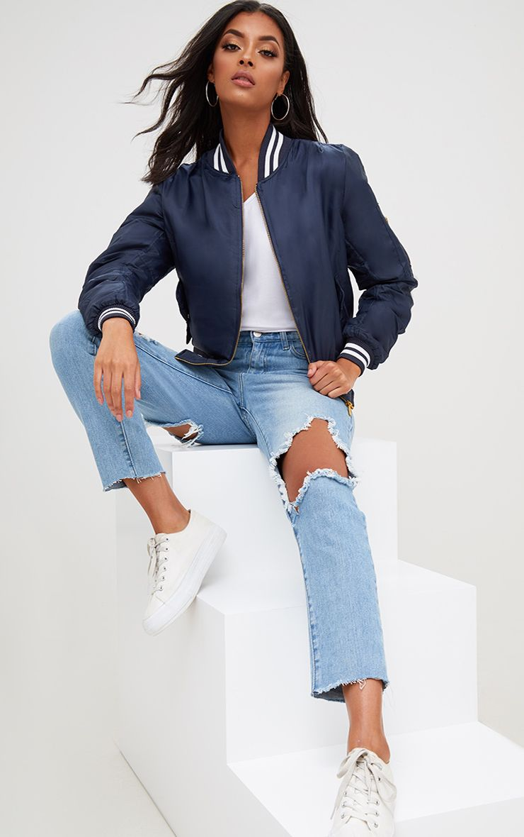 Navy Sports Trim Bomber Jacket