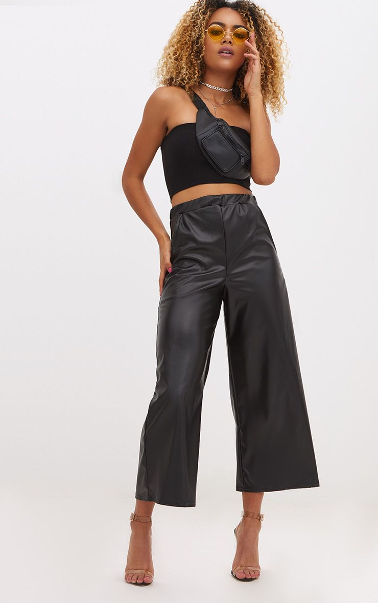 Black Faux Leather Cropped Leg Trousers 1