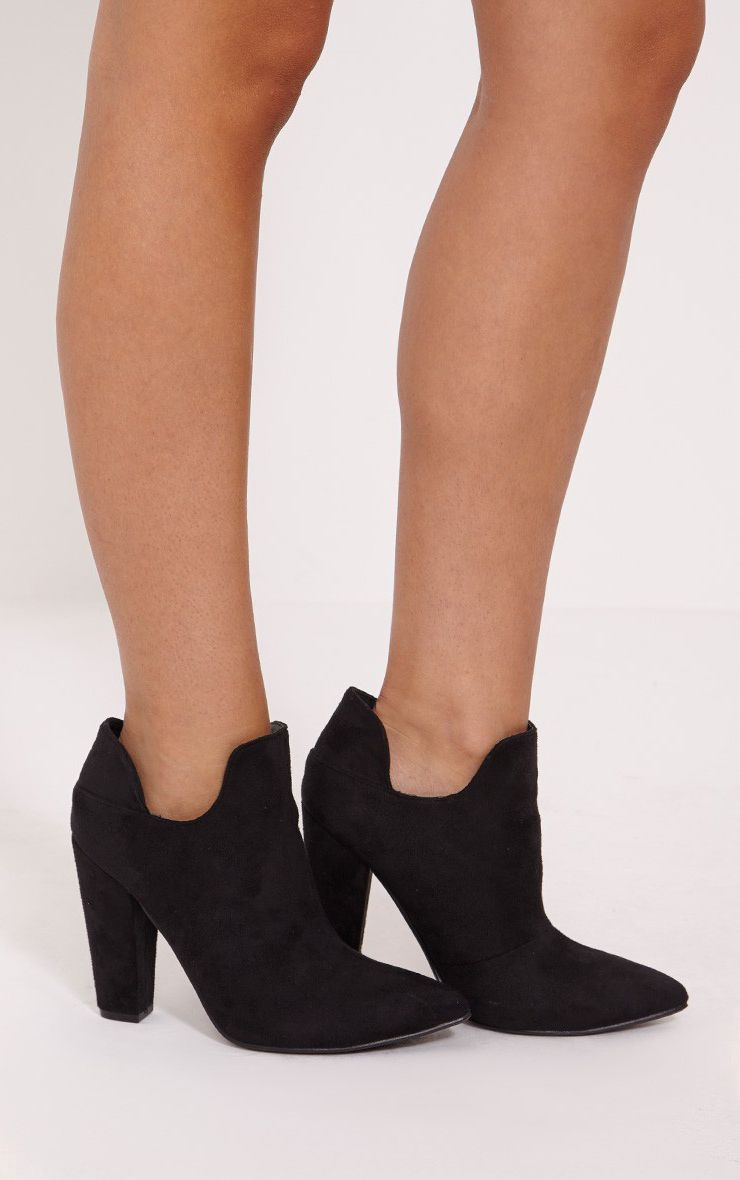 Destry Black Faux Suede Heeled Ankle Boots 1