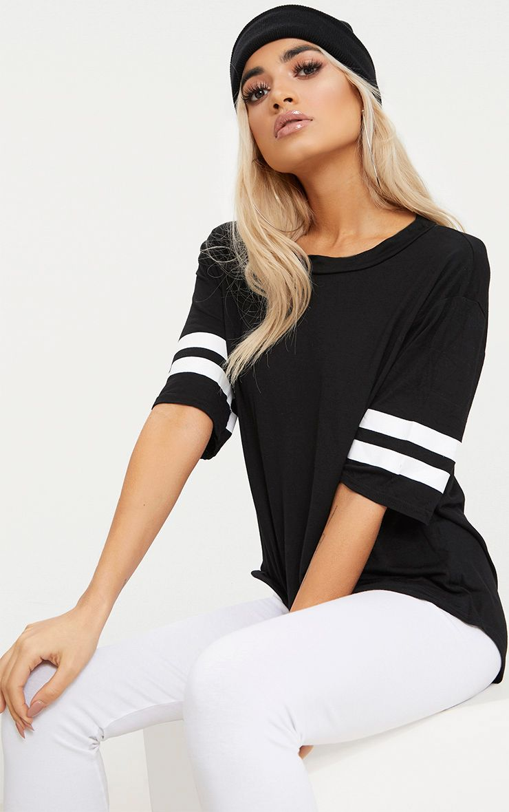 Black Basic Sport Stripe Sleeve T Shirt