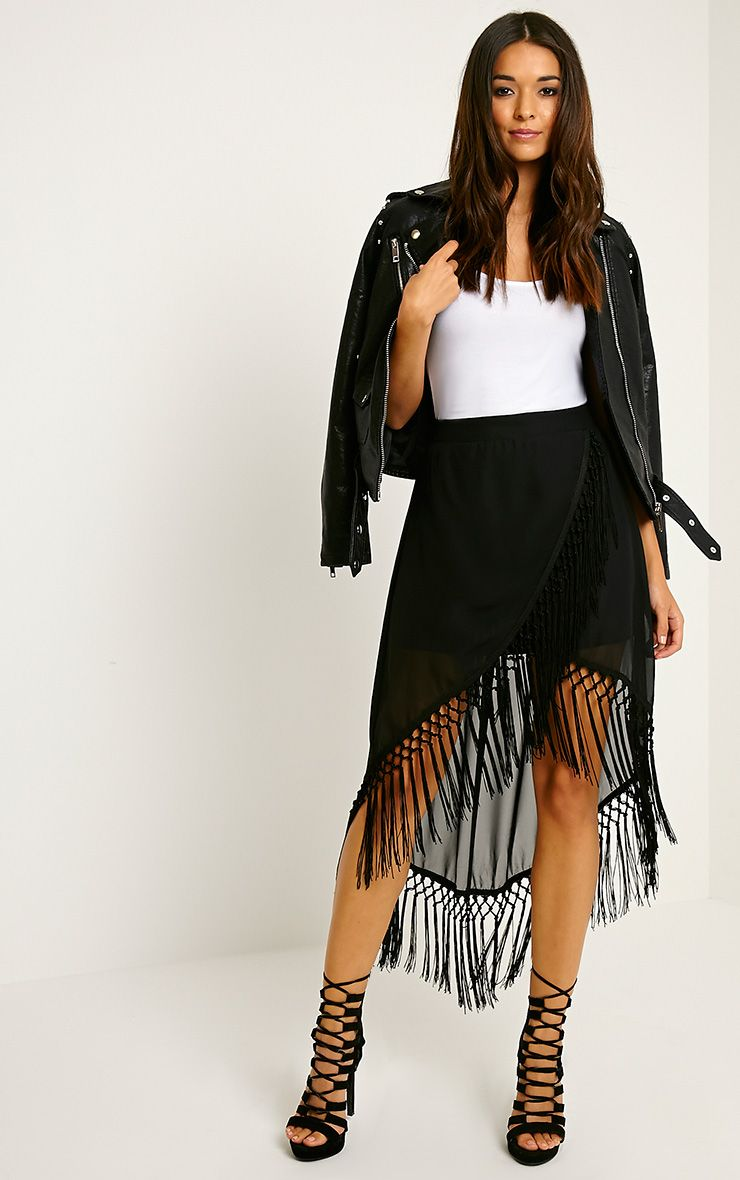 Kylee Black Tassel Trim Skirt 1