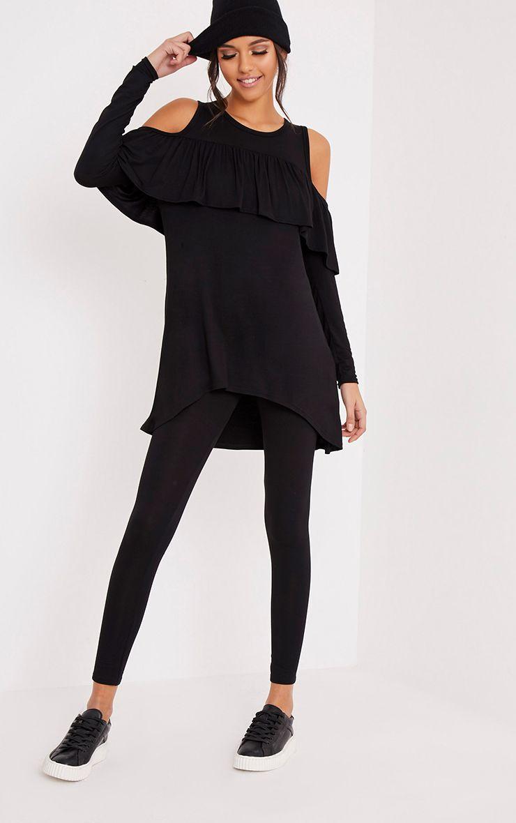 Lorelie Black Cold Shoulder Frill Top & Leggings Set