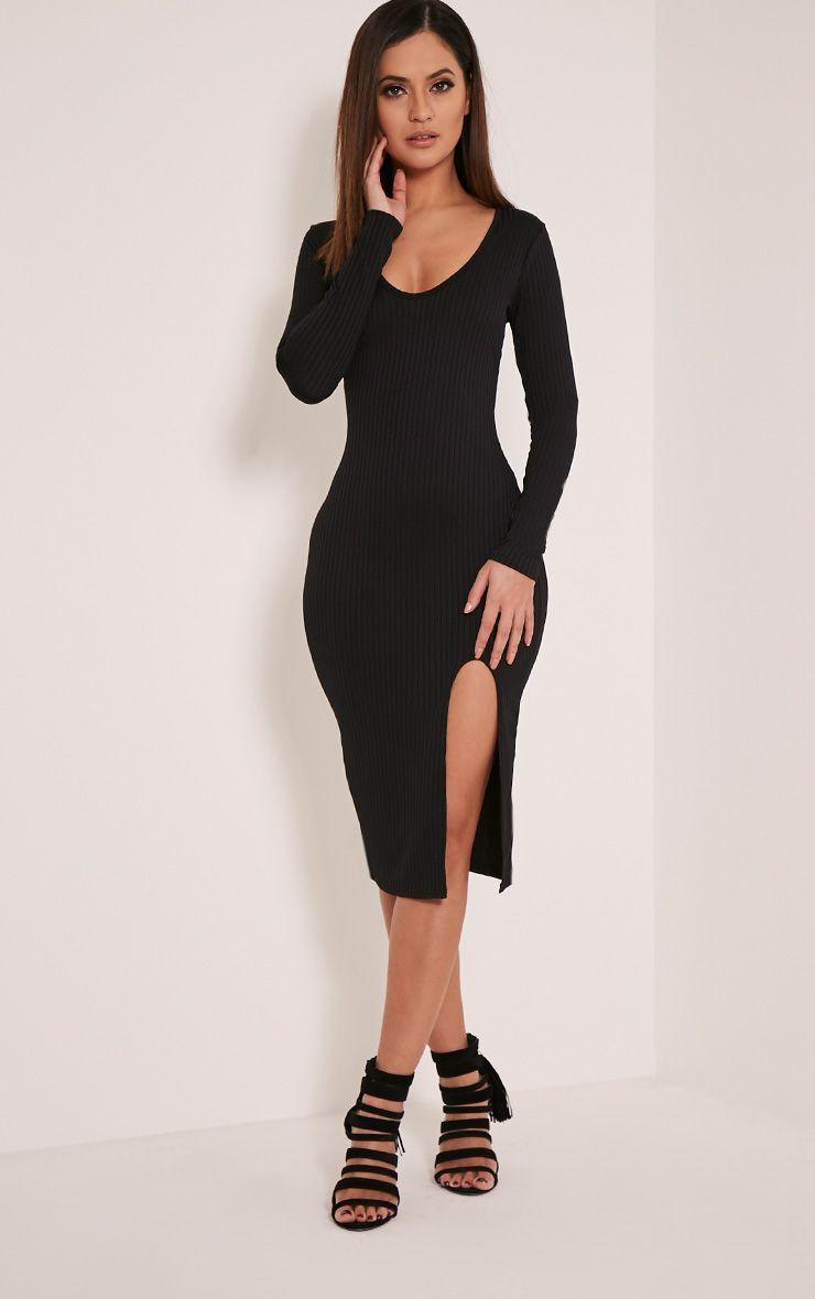 Meelia Black Plunge Neck Ribbed Midi Dress 1