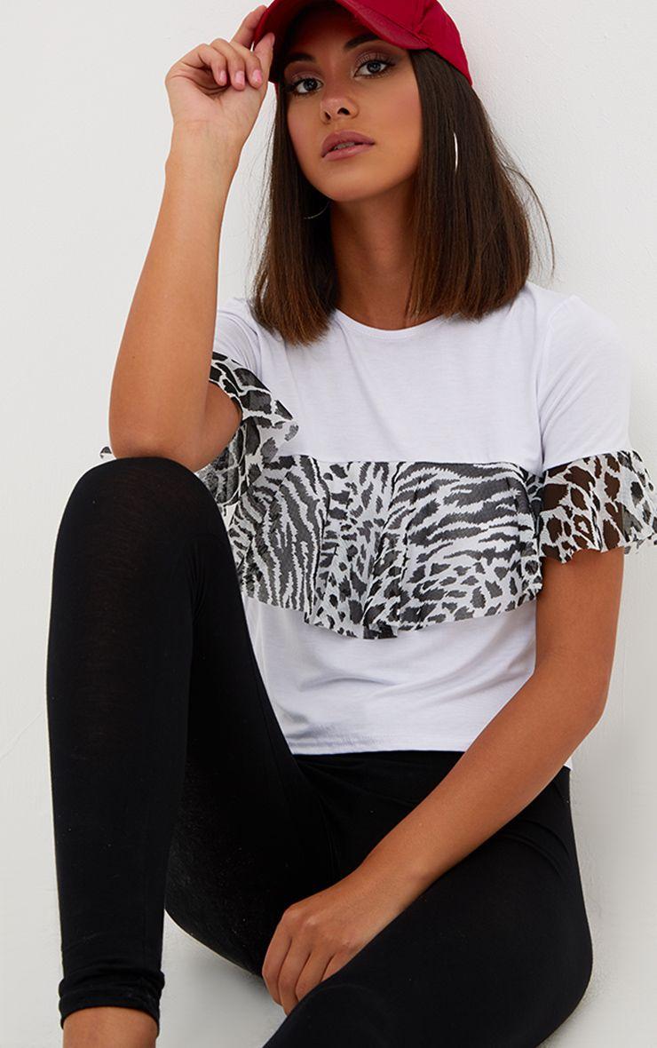 White Mesh Print Frill T Shirt