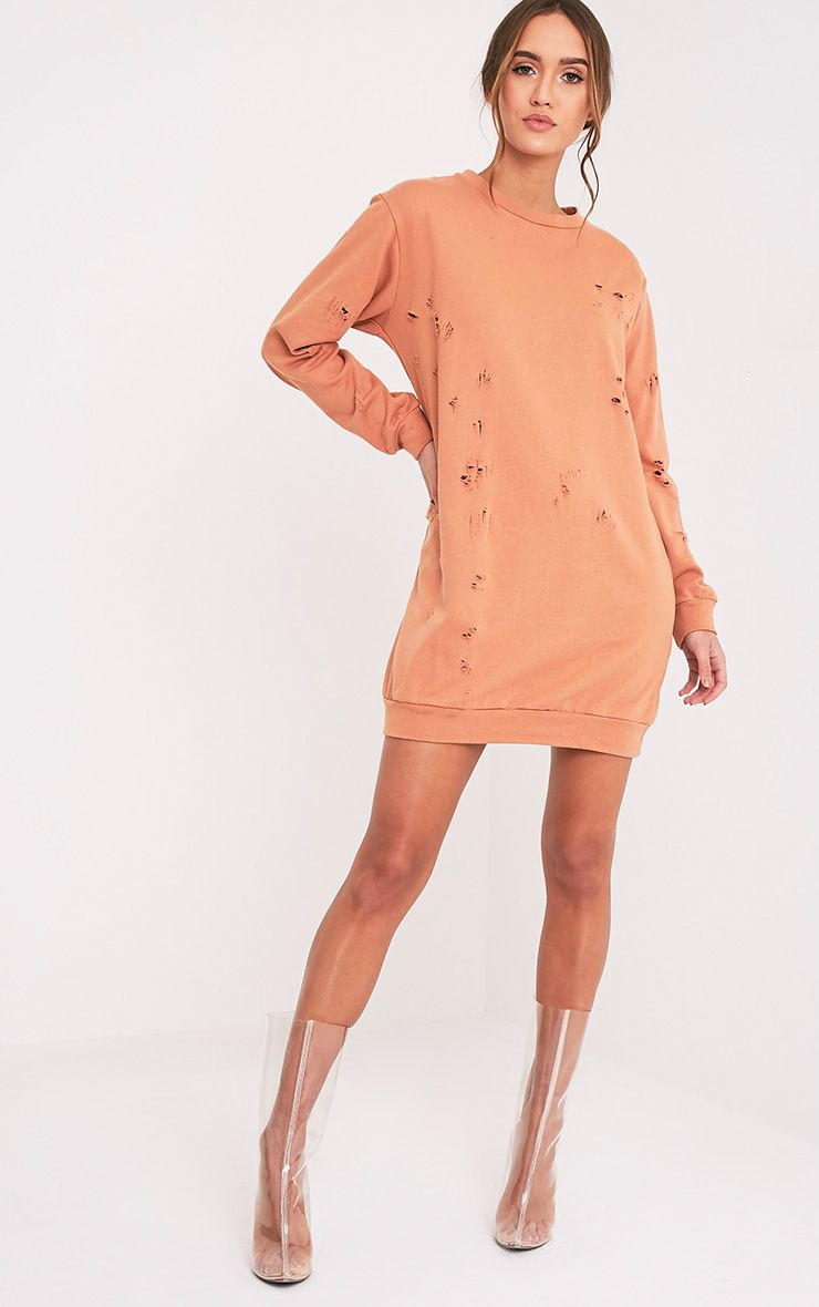 Violet Deep Peach Distressed Long Sleeve Sweater Dress