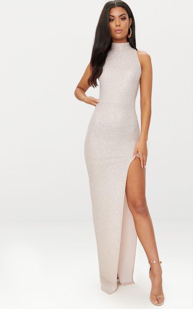 Nude High Neck Split Detail Maxi Dress