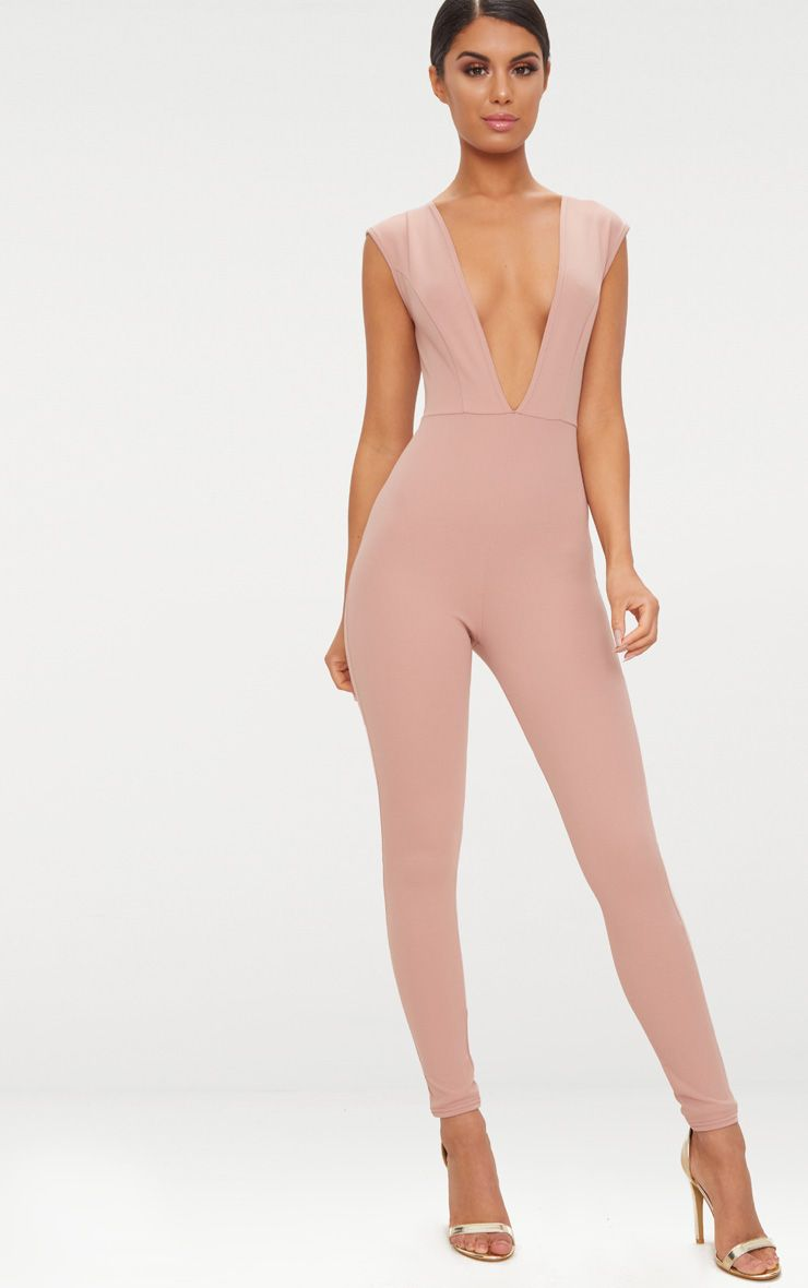 Dusty Pink Crepe Plunge Open Back Jumpsuit