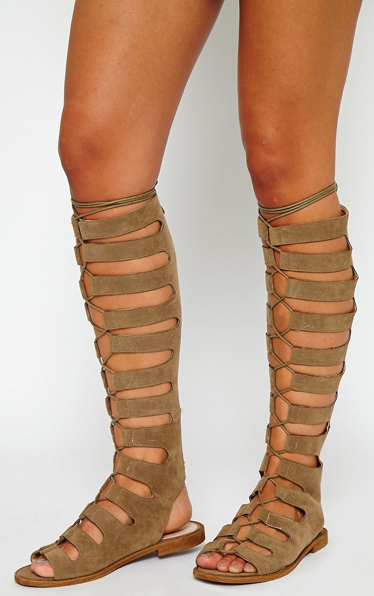 Hanah Taupe Suede Knee High Gladiator Sandals 1