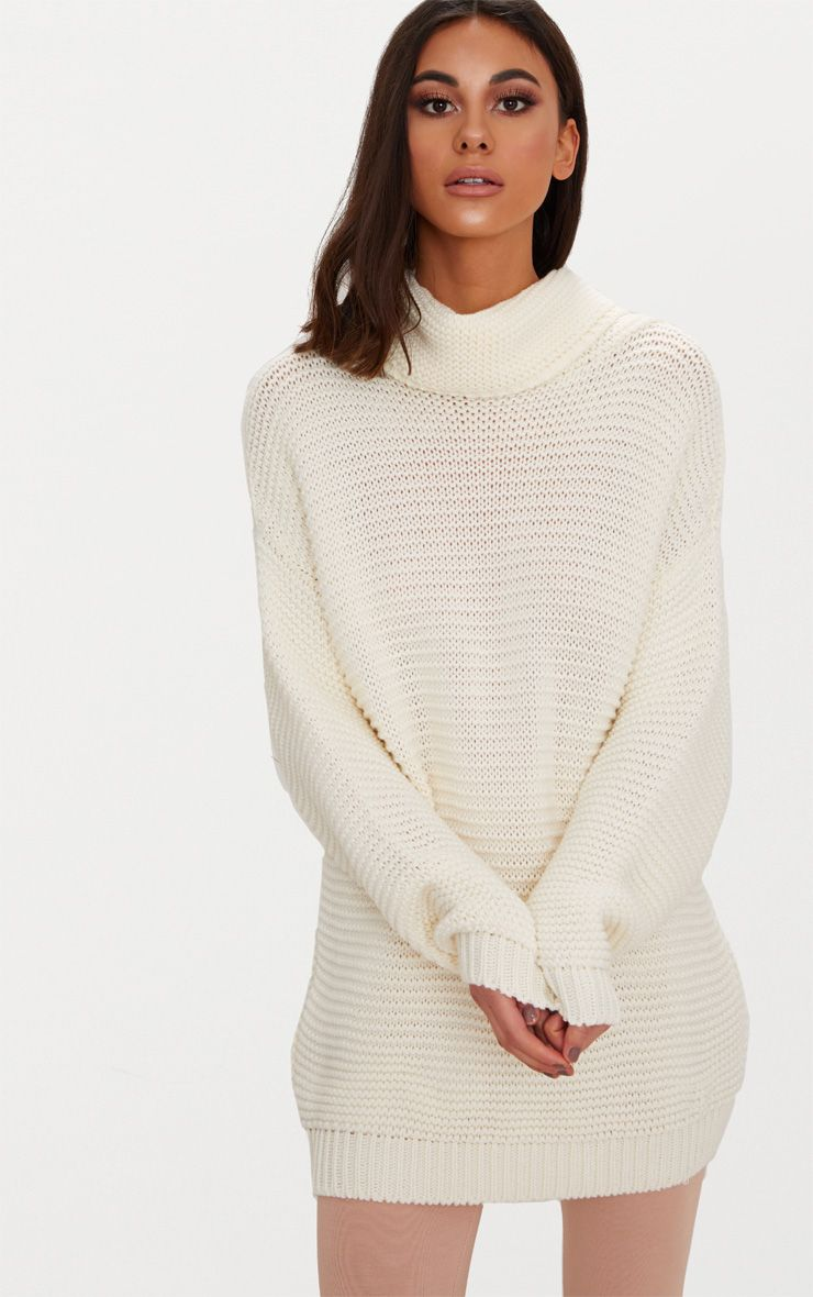 aa6440c1b Finolla Cream Oversized Chunky Cable Knit Sleeve Jumper Knitwear  Prettylittlething Prettylittl