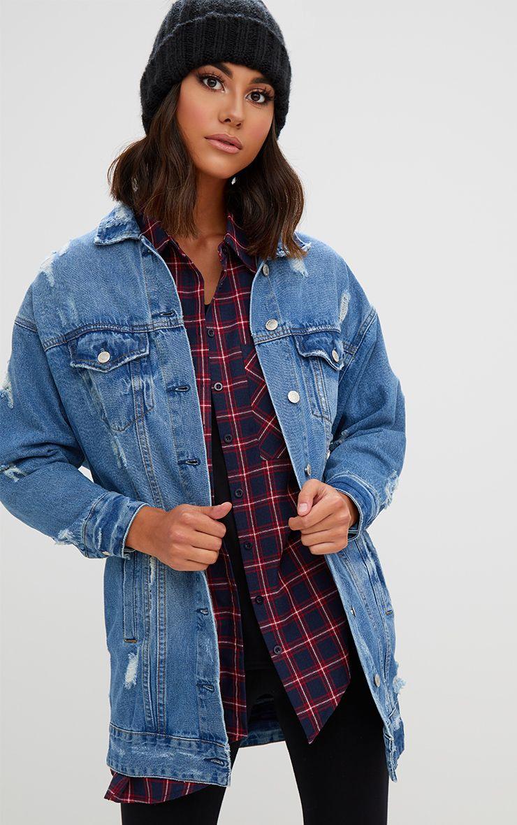 Camry veste en jean longue vieillie délavage léger
