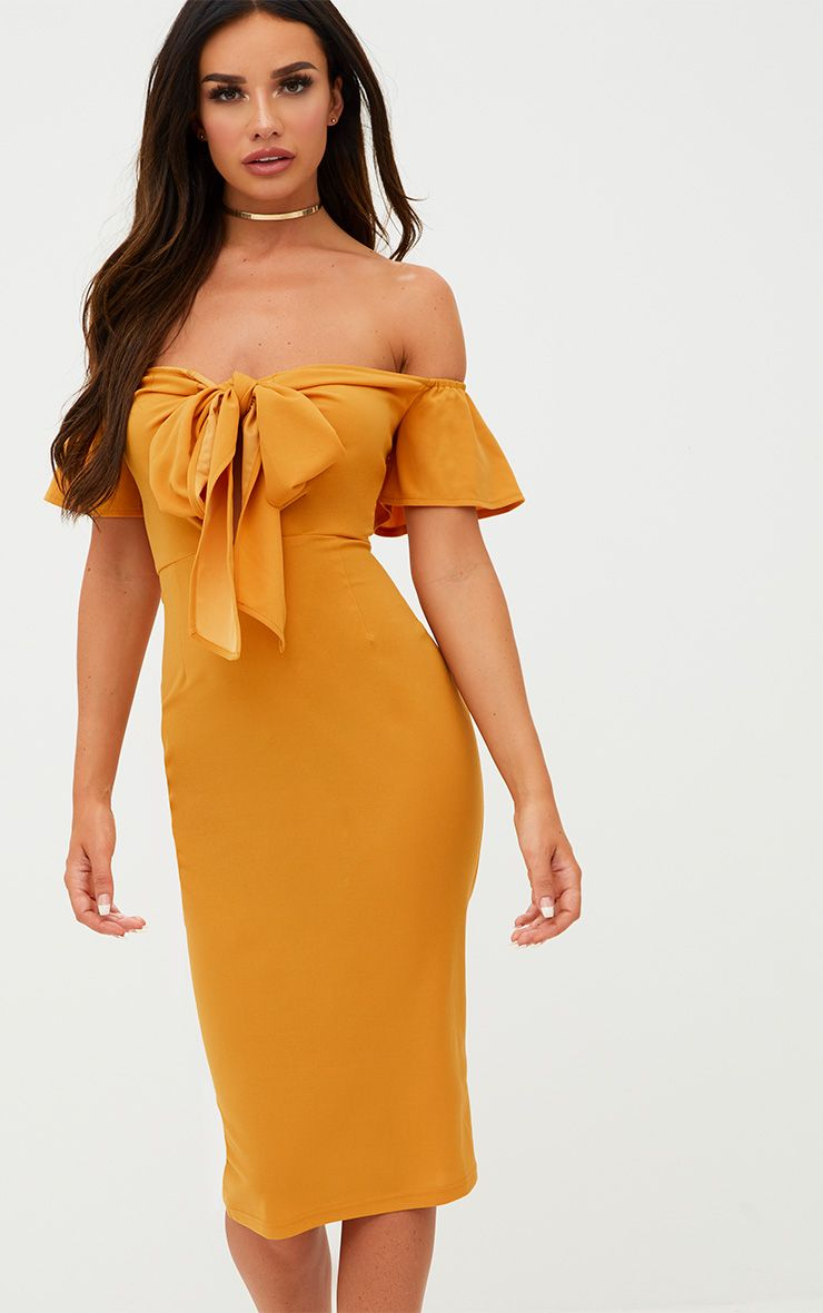 Mustard Bardot Tie Front Midi Dress