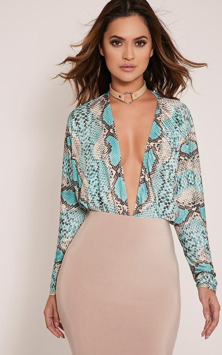 Cassie Turquoise Snakeskin Plunge Long Sleeve Thong Bodysuit 1