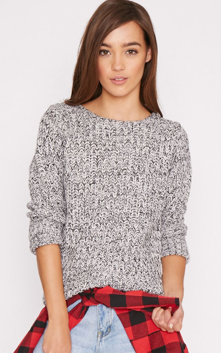 Sherrie Grey Chunky Knit Jumper  1
