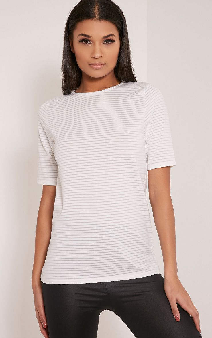 Delia White Mesh Stripe Oversized T Shirt 1
