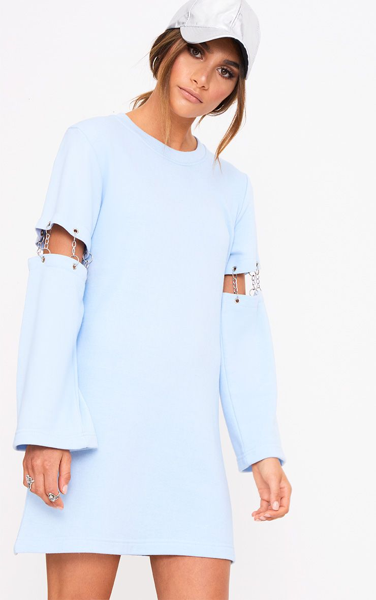 Powder Blue Loop Back Chain Detail Sweater Dress