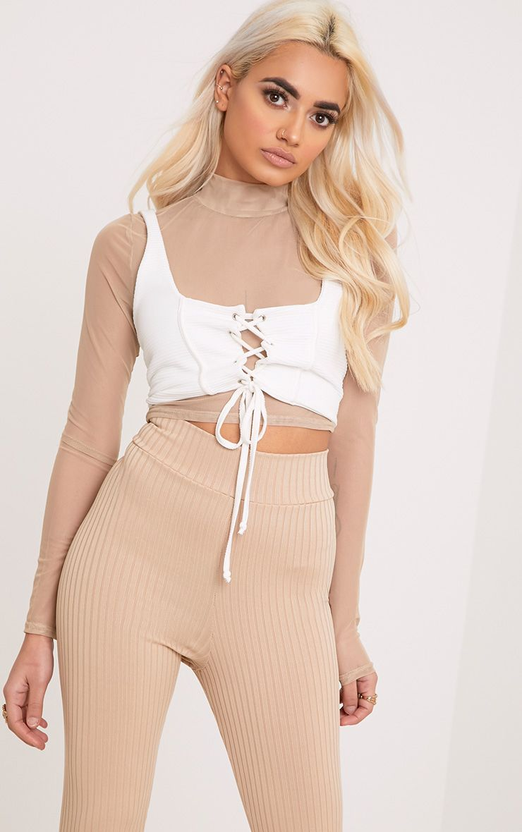 Janie Nude Mesh High Neck Longsleeve Crop Top