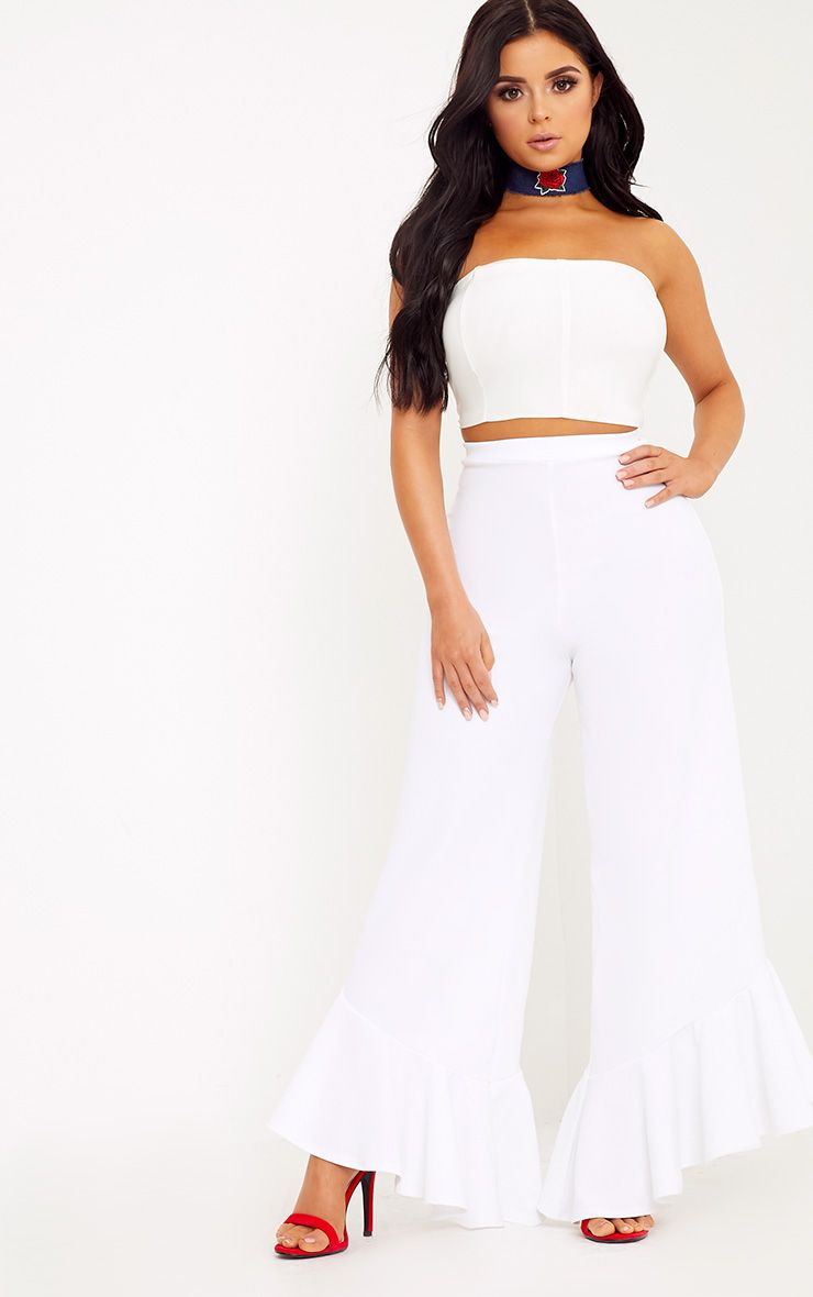 Shape Carmelia White Frill Hem Trousers