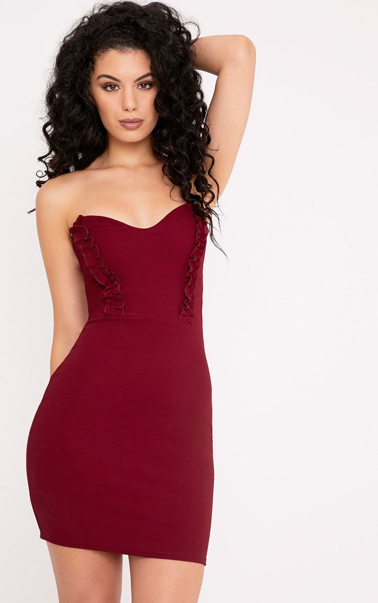 Darliella Wine Bandeau Ruffle Detail Bodycon Dress