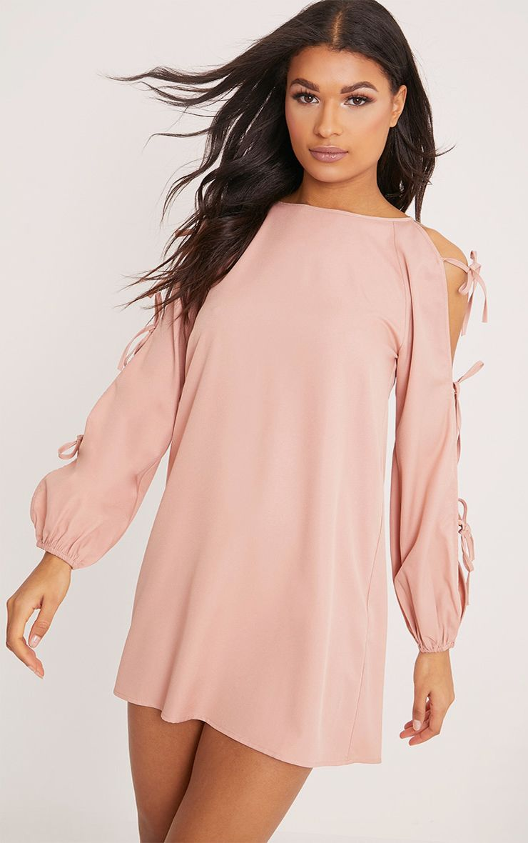 Ryna Dusty Pink Cold Shoulder Tie Sleeve Shift Dress