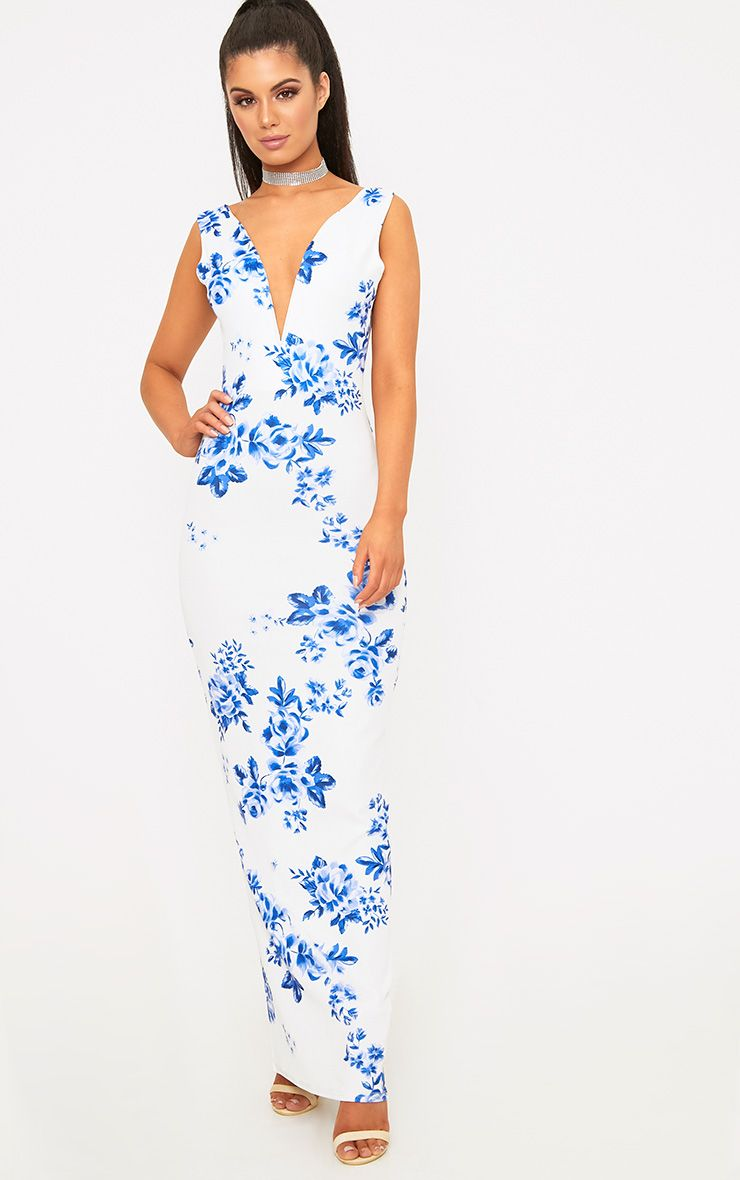 White Porcelain Floral Print Plunge Maxi Dress