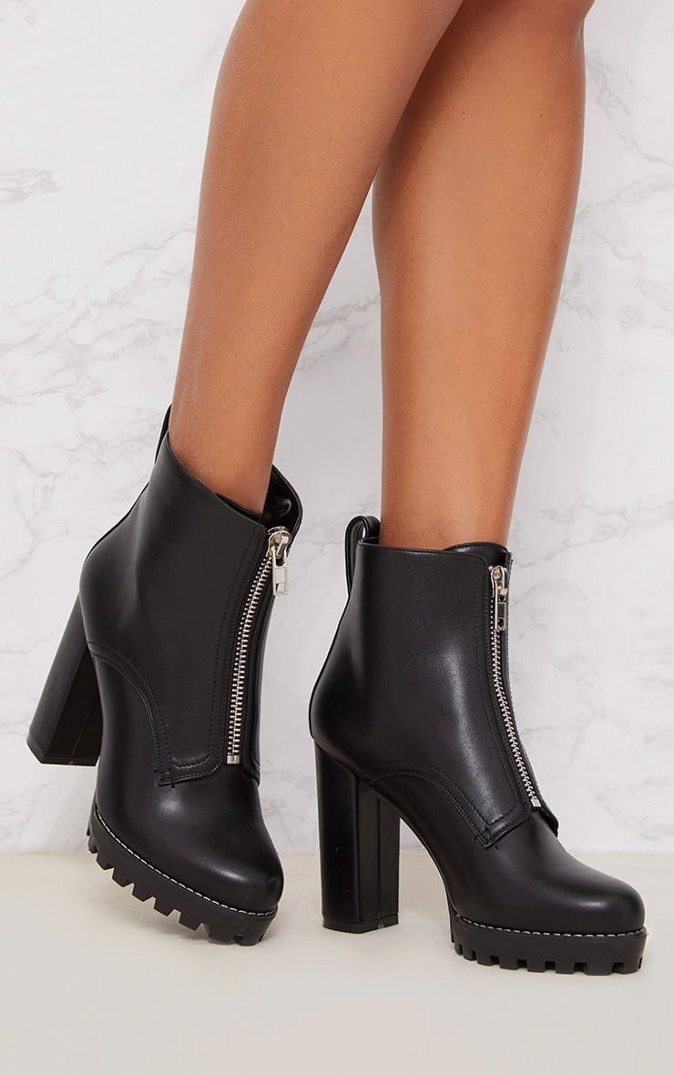 Black Platform Cleated Zip Front Ankle Boot